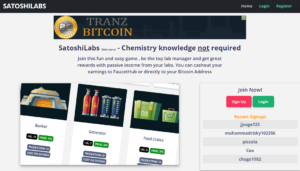 Satoshilabs.net is a site where you can play games – build a lab through 'purchasing' items or equipments to boost your lab. Similar to other bitcoin/faucet sites, you can also claim coins or in this case known as lab flasks, which in turn, you can use to upgrade you lab.
